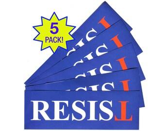 Resist Anti-Trump Sticker - FREE SHIP 5-Pack - Laptop or Bumper  - Anti-Hate Anti-Far-Right - Falsum - Upside Down T - Progressive Left