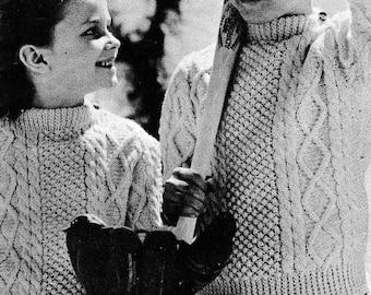 PATTERN Vintage Child Size Aran Sweater PDF File to Knit. Children's Cable knit sweater pattern. Vintage, classic, cable knit sweater Unisex