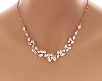 Rose Gold crystal bridal necklace, crystal bridal jewelry, Swarovski crystal necklace, cubic zirconia, wedding jewelry, wedding necklace