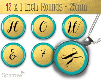 Gold Foil and Aqua Alphabet & Numbers - One (1x1) Inch Bottle Cap Images -Digital Sheets -Scrapbooking -Buy 2 Get 1 Free -Digital Download