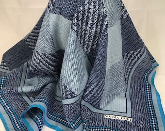 A Beautiful Vintage Norma Dori Designer Scarf, Shades of Blue. 29 x 29 Inches