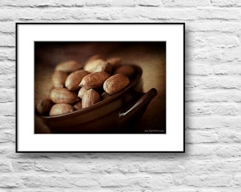 Kitchen art, food fine art photography, pecan nuts photo print, still life fine art photography, vintage wall decor print, brown wall art