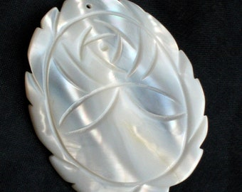 Flower MOP Carved Vintage Focal Charm Pendant Large Dimensional Rose Mother of Pearl Pretty Unique Kitschy Jewelry Making That 70's Show