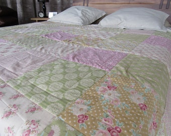 Patchwork Quilt ,Apple Bloom , Homemade quilts , Handmade Quilt, Shabby Bedding , TILDA