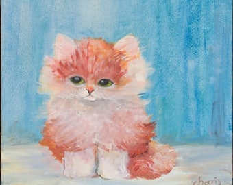 Ginger kitten painting
