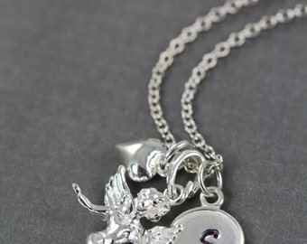 Angel Charm Necklace, Memorial Jewelry Necklace Personalized, Baby Memorial Necklace 925 Sterling Silver