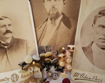 Men's collar buttons/studs and antique cabinet cards