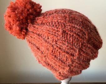 Adult / Knit hat / Alpaca / Toque / Hand Knit / Winter Hat / Large Pom / Pom Pom / Snowboard hat / Christmas  Gift / Girlfirend /