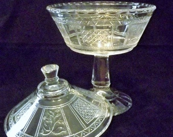 Vintage Sandwich Glass Covered Compote
