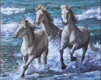 18 x 18 Ceramic Tile MuraL Backsplash, White Horses #258