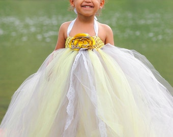 Gray and Yellow Flower Girl tutu dress with lace accent, matching removeable satin singed flower perfect for Spring weddings-toddler-girls