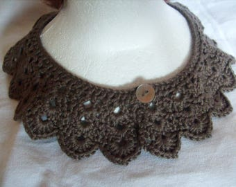 Crocheted Brown 1 detachable collar