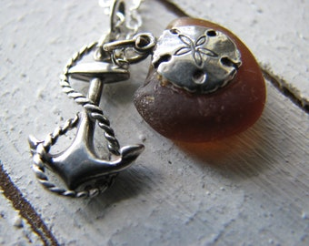 Anchor and Rope Necklace - Sterling Silver, Sand Dollar, Brown Sea Glass, Oregon, Beach Life, Nautical