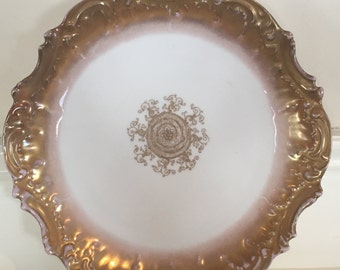 Antique France Limoges LS&S Gold Gilt Porcelain Dessert/Lunch Plate, Early 1900's Limoges Gold Plate, Lewis Strauss And Sons Vintage Plate