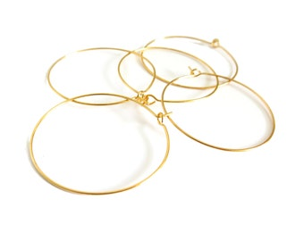 20 Pcs - Gold Hoop Earrings - 35mm in diameter