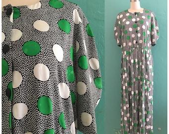 vintage 80's polka dot drop waist dress // polka dot maxi dress