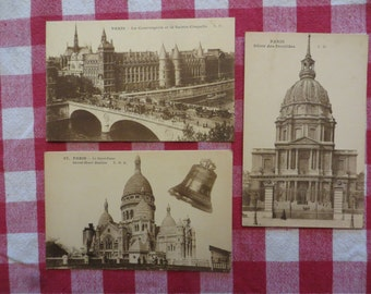 Lot of 3 Antique French postcards france paris w/ free ship
