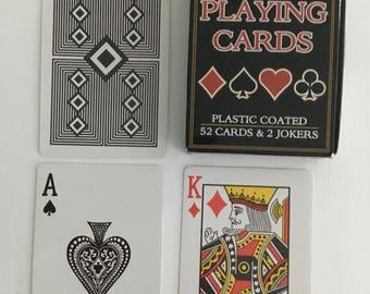 Plastic coated, playing cards, black diamond back