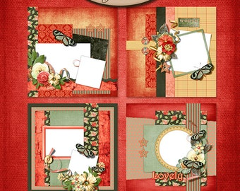 Digital Scrapbooking, Quick Page Set B  8x8 inch Layouts: Just Watch Me