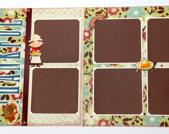 Thanksgiving Scrapbook Pages, 2 Page Layout, 12 x 12, Fall Album Pages, Premade Scrapbook Pages, Fall Scrapbook Page, Autumn Scrapbook Pages