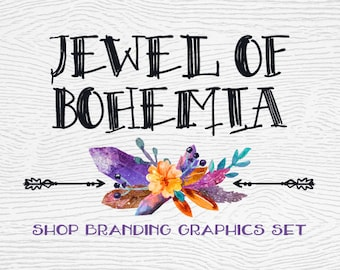 Boho Crystal Shop Branding Banners, Avatar Icons, Business Card, Logo Label + More - 13 Premade Graphics Files - JEWEL OF BOHEMIA