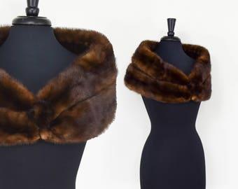 50s Dark Brown Fur Wrap   Fur Shrug