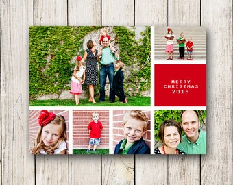 Holiday Cards / Christmas Photo Collage Card (Digital File or Printed Cards)