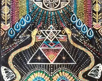 Large Hand painted hand transfer on wood rainbow kundalini rain prayer visionary art