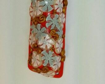 Japanese Flower Mezuzah - Red