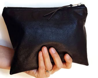 Leather pouch / leather bag / leather zippered purse / leather clutch / soft black recycled genuine leather / leather gift / ethical gift
