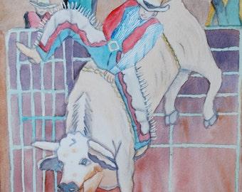Original Watercolor Painting - Rodeo Days