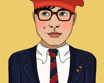 Max Fischer Rushmore Wes Anderson Illustration Matte Coated Illustrated Print