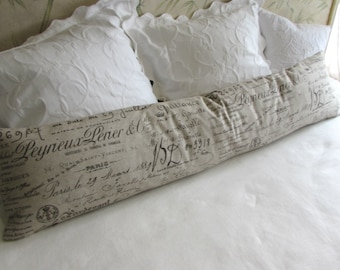 FRENCH SCRIPT long decorative bolster pillow 12x54 includes insert