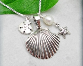 Seashell Necklace, Beach Jewelry, Starfish Necklace, Sanddollar Necklace, Sterling Silver, Shell Jewelry, Summer Necklace