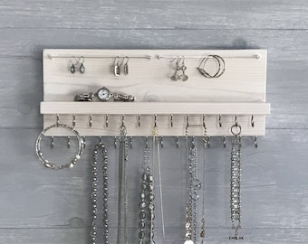 Jewelry Organizer Holder - White Necklace Organizer Holder - Wall Mounted Rustic Wood, Necklaces Bracelets Earrings