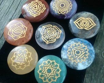 8 Piece Engraved CHAKRA HEALING STONE Set Cabochons Flat Back