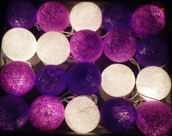 20 Purple shade Cotton Balls Lamp Fairy String Lights for Party Home decorative