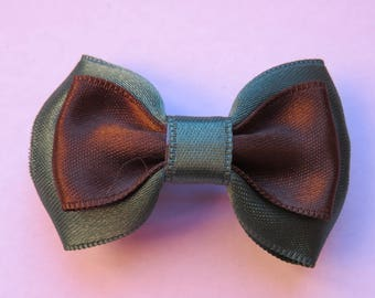 Metal strip 5 cm with pine green and Brown fabric bowtie