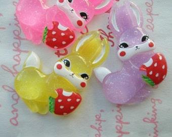 sale Retro Bunny with Strawberry Yum Yum 3pcs Set A Hotpink Yellow Purple