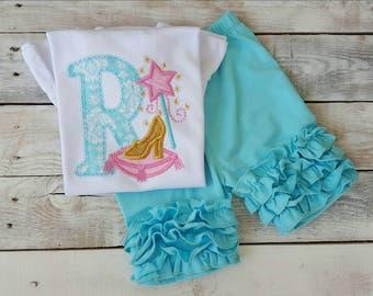 Personalized Princess Shirt outfit w/ bow, Sample Sale, Princess Shirt, baby girls Cinderella shirt, ruffled Disney Princess Monogram shirt