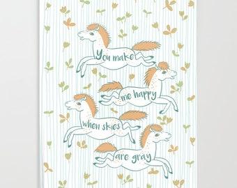 Happy Orange Ponies Blank Notebook Journal