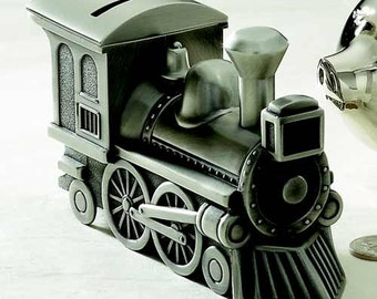 Baby Gift , Train Bank , Pewter, or Bright Finish Personalized with Engraving