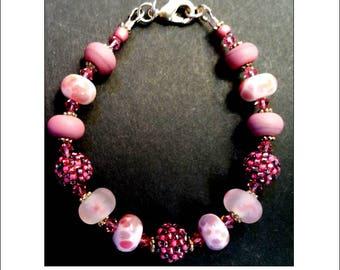 Raspberry Delight Bracelet, artisan lampwork glass, crystal, beaded bracelet, handmade in England, pink, white, silver, gift for her