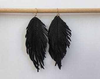 DOUBLE genuine LEATHER feather earrings with lambskin soft leather feather earrings leather earrings lightweight dangle earrings