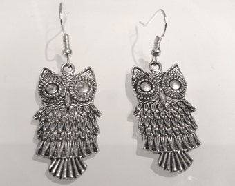 Owls Earrings -Silver Plated Earwires- Antique Silver Pendant