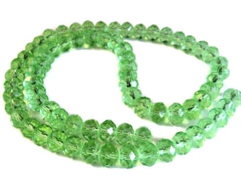 """Peridot Green Crystal Faceted 6mm Rondelle Beads, 17"""" Strand, Jewelry Supplies, Takuniquedesigns"""
