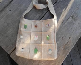 Sea glass inlay linen shoulder bag