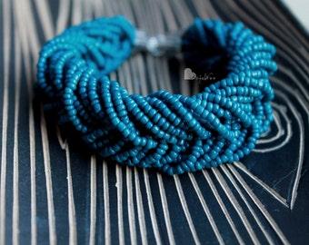Multi strand bracelet Beaded bracelet Blue bracelet Statement bracelet Seed bead bracelet Glass bead bracelet Big Bracelet Boho bracelet