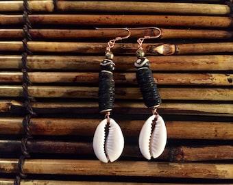 Afrocentric Jewelry - Kenyan Batik Bone & Cocoa Earrings