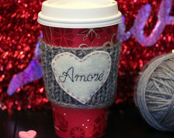 Coffee Cozy Sleeve - Hand Knit gray Amore' with Felt heart cozy